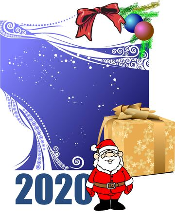 Blue abstract Christmas background with white snowflakes and Santa image. Vector illustration