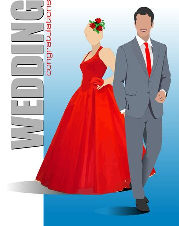 Bride and groom  are ready for wedding ceremony. Vector