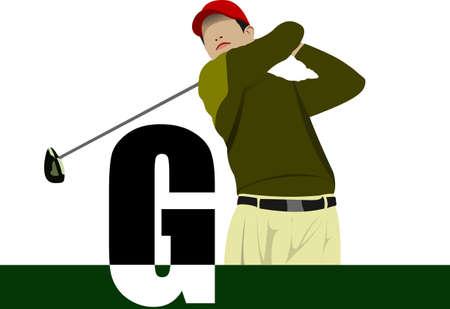 Golf player poster. Vector illustration