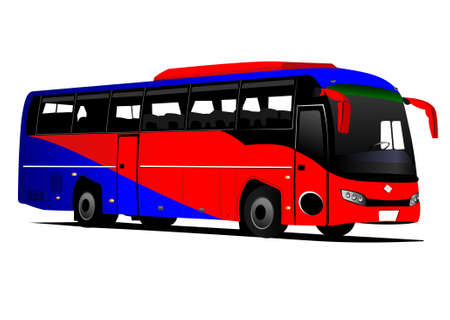 Blue-red tourist or City bus on the road. Coach. Vector illustration