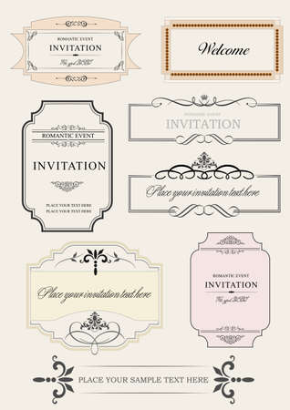 Set of ornate vector frames and ornaments with sample text. Perfect as invitation or announcement. All pieces are separate. Easy to change colors and edit. Vetores