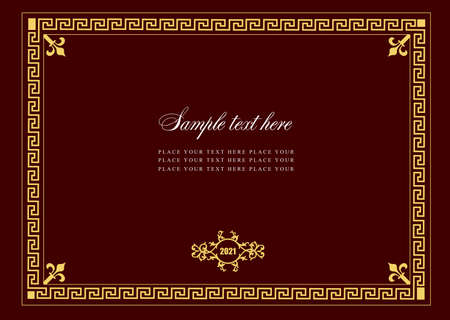 Gold ornament on darck background. Can be used as invitation card. Vector illustration