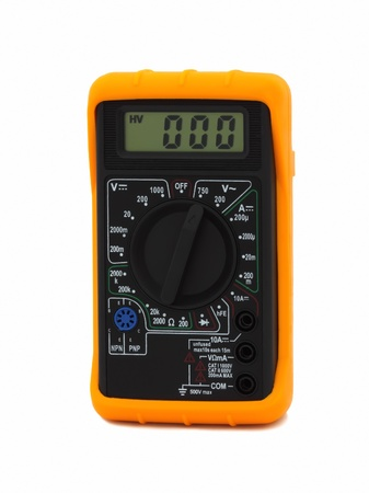 ammeter: Yellow multi-meter isolated on a white background