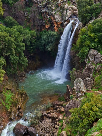 Banias waterfall in the spring at the Golan Heights (Israel). photo