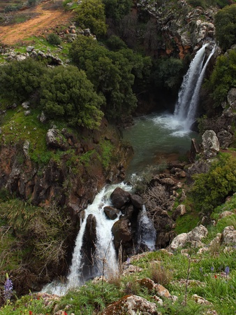 golan: Banias waterfall in the spring at the Golan Heights (Israel).