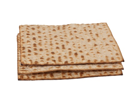Three matzot on white background. Matzo - jewish passover bread within pottle Stock Photo - 11762207