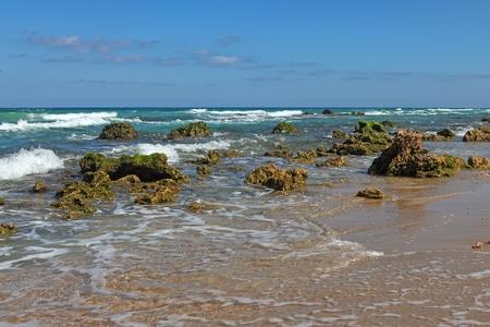 Huge stones and sea. Coast Mediterranean sea,Netanya, Israel