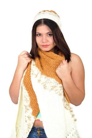 beautiful girl wearing a hat and scarf isolated against white background  Stock Photo - 13329485
