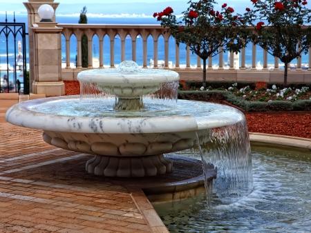 bahai: Small decorative fountain in a Bahai Gardens, Haifa, Israel