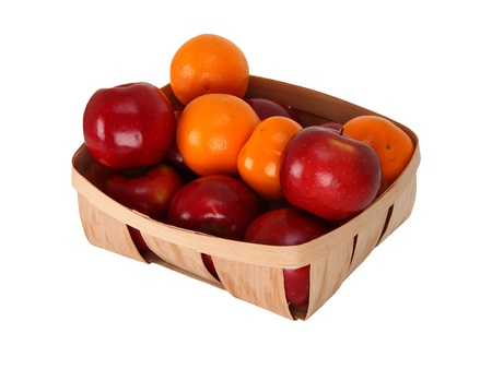 apples, persimmons and orange fruits in a basket isolated on a white background.   photo