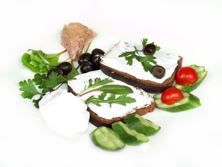 a fresh sandwich with tuna and vegetables Stock Photo - 15707308