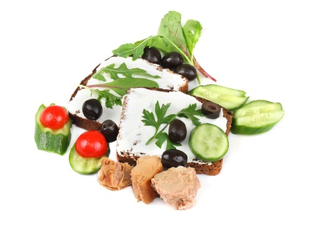 a fresh sandwich with tuna and vegetables Stock Photo - 15707307