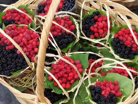 low cal: Ripe raspberries and brambles in basket