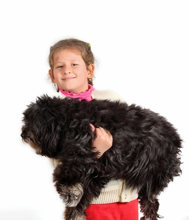 little girl with dog on white background  photo