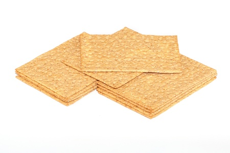 crackers  crispbread  on the white isolate background  photo