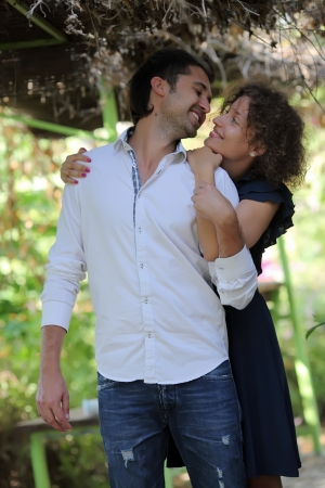 Romantic moments between a couple in the park Stock Photo - 16126615