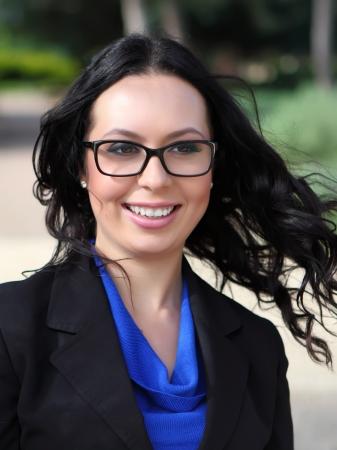 Portrait of smiling brunette woman with glasses  Stock fotó