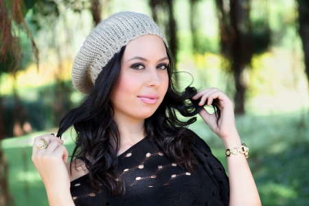 portrait of beautiful smiling girl in fashionable winter cap Stock Photo - 17159468