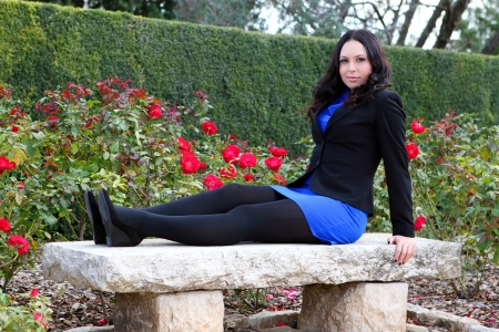 young brunette posing in autumn park Stock Photo - 17506566