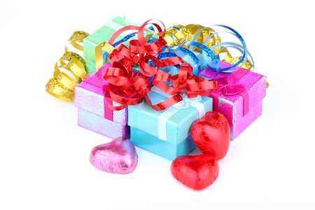 color gift boxes on white background Stock Photo
