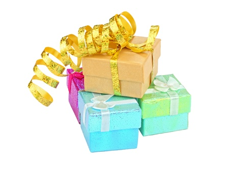 color gift boxes on white background photo