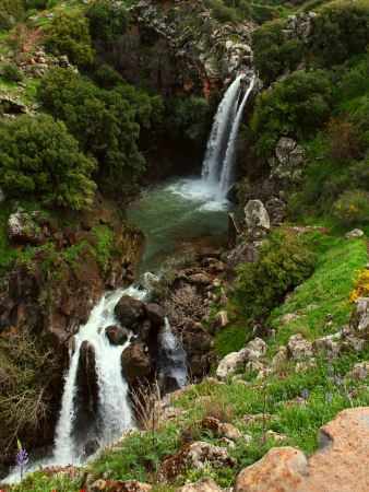banias: Banias waterfall in the spring at the Golan Heights (Israel).