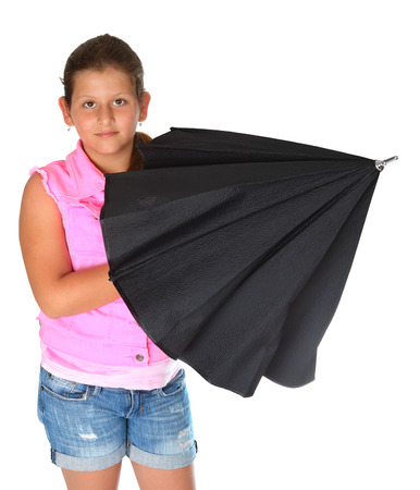 jewess: little girl with black umbrella in her hands. Isolated on white background