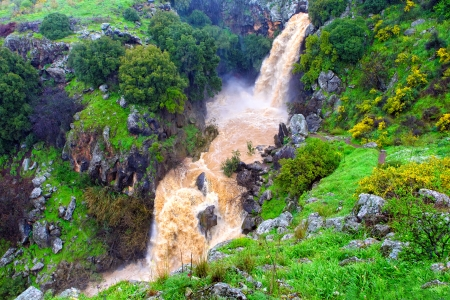 banias: Banias waterfall in the spring at the Golan Heights (Israel).  Stock Photo