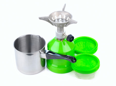 Cooking tourist equipment during camping Stock Photo - 23132220