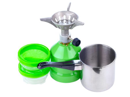 Cooking tourist equipment during camping  Stock Photo - 23248168