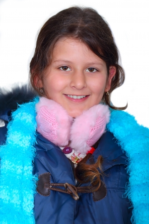 jewess: Portrait of cute little girl with pink earmuffs Stock Photo