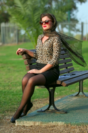 jewess: Young woman with 50s-60s make-up and hairstyle  Stock Photo