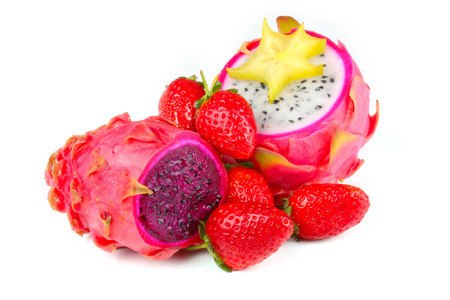 Dragon Fruit with pitahaya and strawberries photo