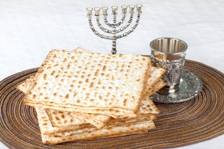 matzoth: Closeup of Matzah on Plate which is the unleavened bread served at Jewish Passover dinners