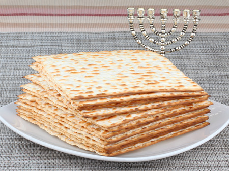 dinners: Closeup of Matzah on Plate which is the unleavened bread served at Jewish Passover dinners