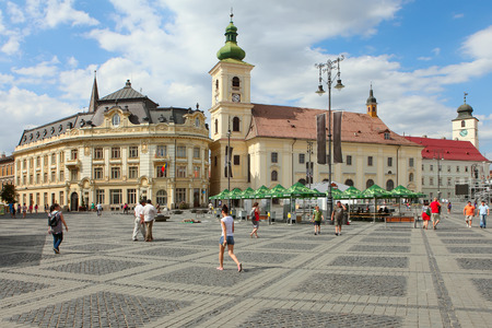 SIBIU, ROMANIA - AUGUST 08  The Main Square on August 08, 2012 in Sibiu, Romania  Sibiu is one of the most important cultural centers of Romania