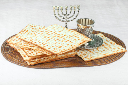 Closeup of Matzah on Plate which is the unleavened bread served at Jewish Passover dinners