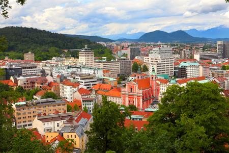 landscape of Ljubljana city in Slovenia viewed from Ljubljana castle