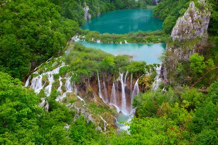 Breathtaking view in the Plitvice Lakes National Park .Croatia Stock Photo