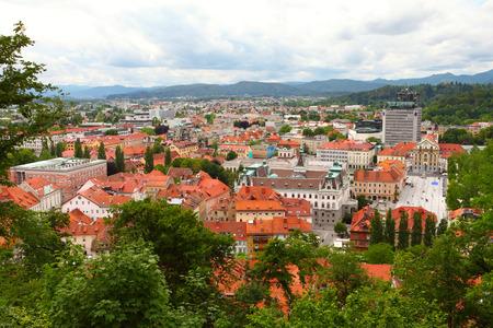 landscape of Ljubljana city in Slovenia viewed from Ljubljana castle  photo