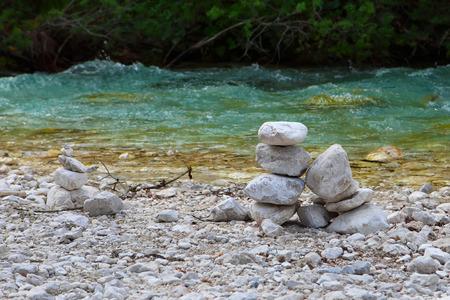 zen stones: Stones pyramid near river