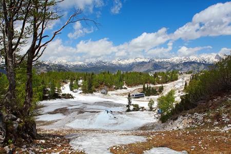 Vogel Ski Resort above Lake Bohinj in Triglav National Park, Julian Alps, Slovenia