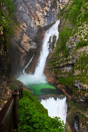 bohinj: Savica waterfall, Bohinj, Slovenia Stock Photo