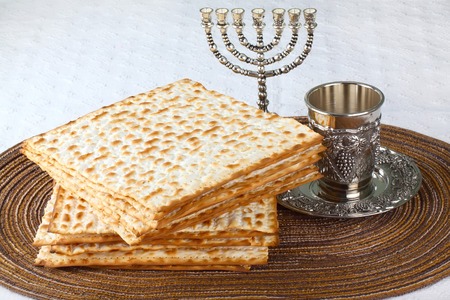 Closeup of Matzah on Plate which is the unleavened bread served at Jewish Passover dinners  photo