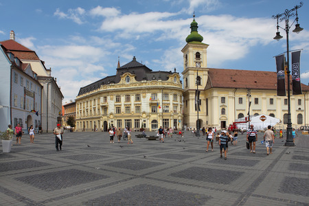 SIBIU, ROMANIA - AUGUST 08: The Main Square on August 08, 2012 in Sibiu, Romania. Sibiu is one of the most important cultural centers of Romania