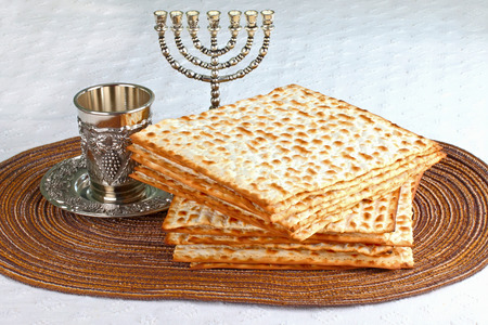 yiddish: Closeup of Matzah on Plate which is the unleavened bread served at Jewish Passover dinners Stock Photo