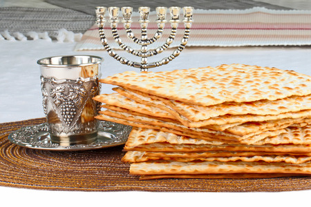Closeup of Matzah on Plate which is the unleavened bread served at Jewish Passover dinners Stock Photo