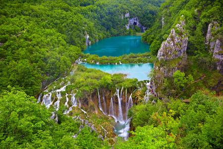 on lake: Breathtaking view in the Plitvice Lakes National Park .Croatia Stock Photo