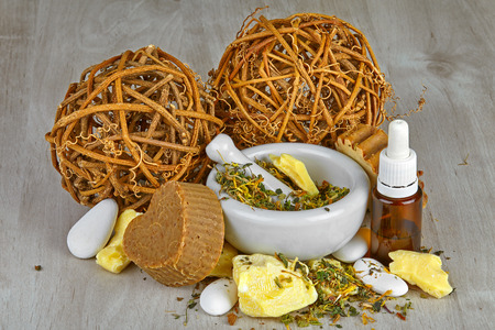Natural cosmetics and soaps handmade from organic oils and herbs.