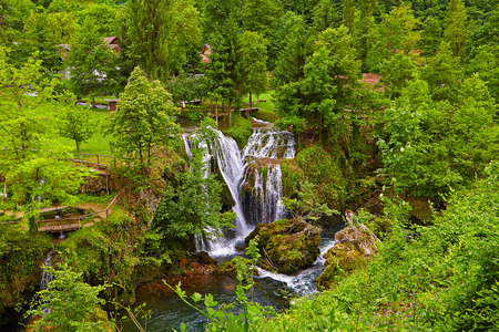 Waterfalls in Village of Rastoke river canyon, Croatia Stock fotó